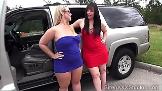 Two sluts fuck a stranger in the field