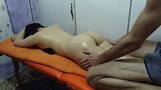 Massage, cuckold wife fucking
