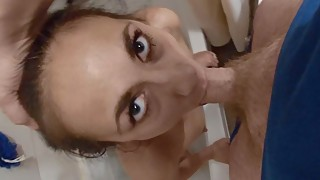 Resting bitch face hot chick w/ a big dick and anal fucked