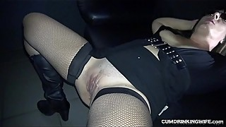 Slut wife gangbanged by many strangers in adult theater
