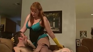 Redhead amazon woman bullies her husband and his best friend sex, strapon