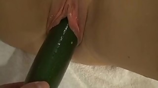 The woman gets double penetrated by cock and ass dildo with creampie.