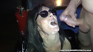 Slutwife gangbanged over 20 guys in the bar