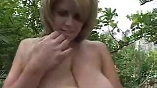 Young mom with big saggy boobs spreads her legs